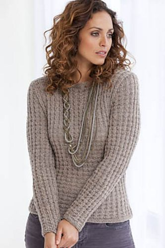 Biella Waffle Weave Pullover By Rosemary Drysdale Free Knitted