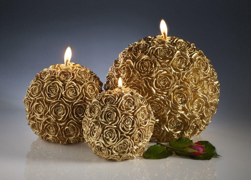 Decorative Rose Ball Candles Gold Geschnitzte Kerzen Kerze