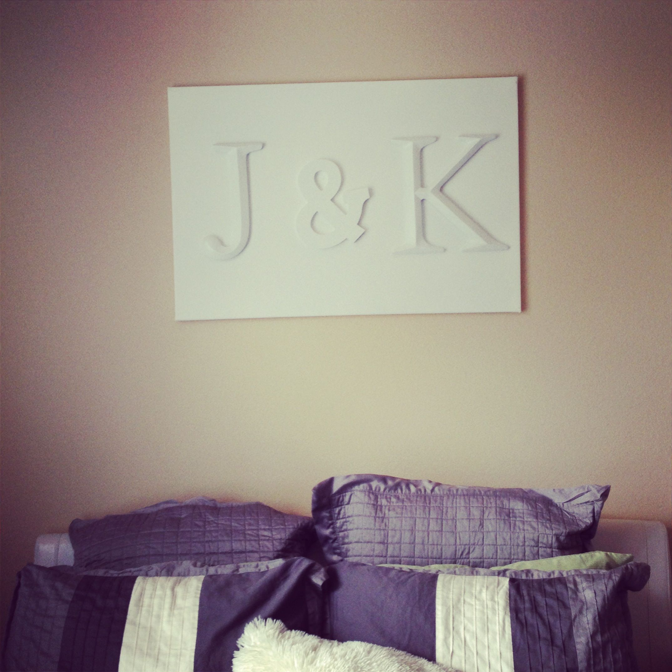 DYI Letters on Canvas above bed art... All finished & I am