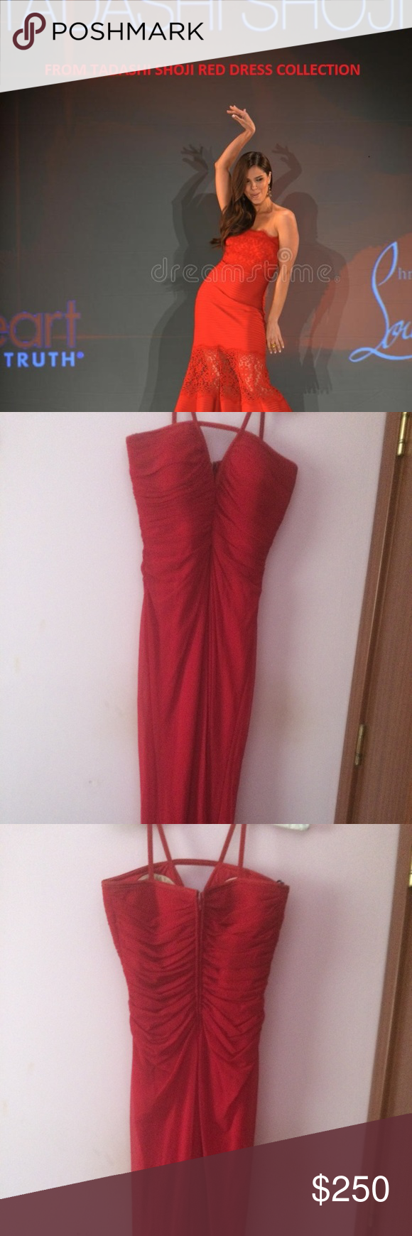 Long red dress from tadashi red dress collection my posh picks