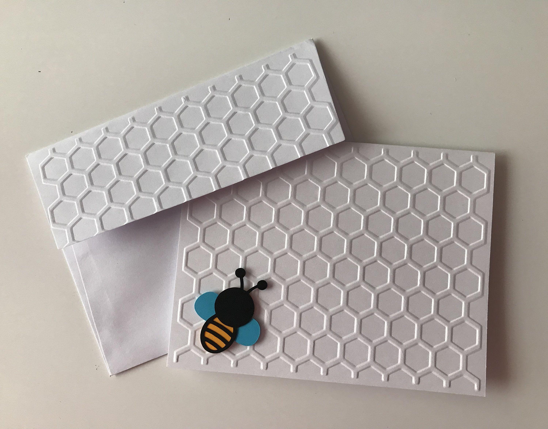 Handmade Bee Set Of 5 Embossed Bee Greeting Cards Blank Note