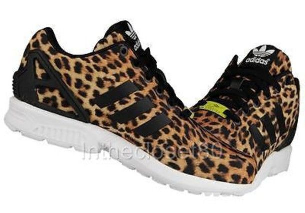 Adidas Brown ZX Flux Animal Print Trainers at