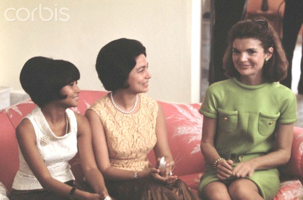 Jacqueline Kennedy Visiting Royal Leaders of Cambodia Sihanoukville, Cambodia: At the home of Cambodian Chief of State Norodom Sihanouk, Mrs. John F. Kennedy chats with Princess Monique, wife of Prince Sinhanouk. Date Photographed:November 06, 1967.❤❤❤❤ http://en.wikipedia.org/wiki/Jacqueline_Kennedy_Onassis