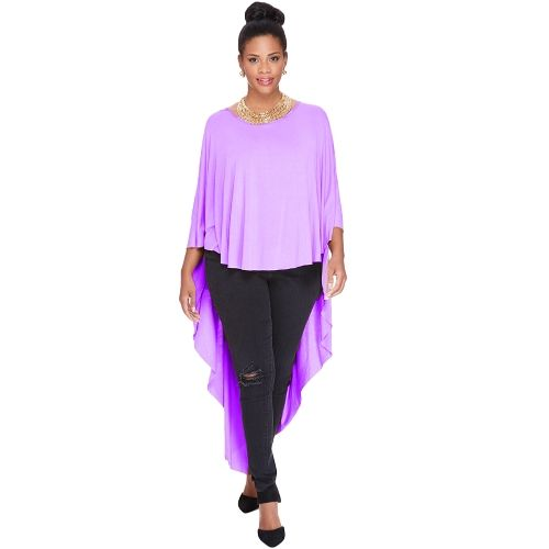 New Fashion Women Cape T-Shirt Three Quarter Batwing Sleeve O Neck Asymmetric Hem Loose Top