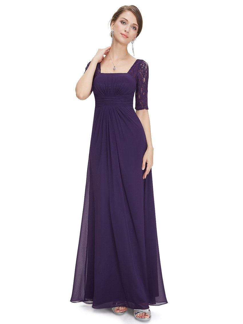 58352beba9 Ever Pretty Half Sleeve Square Neckline Ruched Waist Evening Dress 08038 at  Amazon Women s Clothing store