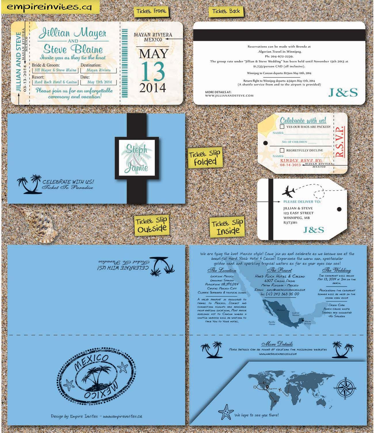 Custom Destination boarding pass wedding invitations Canada ...