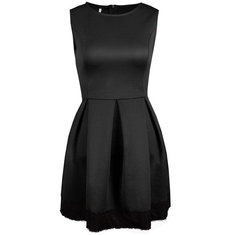 Women Sleeveless Skirt Dress Ladies Evening Party Mini Ball Gown Skater Dress