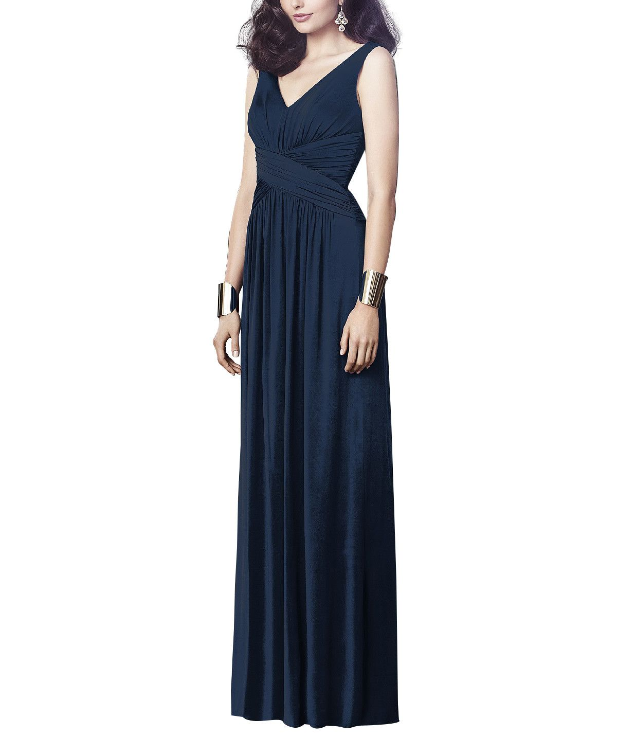 DescriptionDessy Collection Style 2913Full length bridesmaid dressSleeveless, V-necklineCriss cross draped midriffShirring at front and back skirtMaracaine jersey