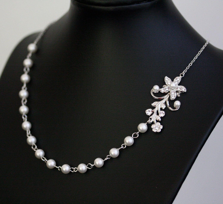White Pearl Bridal Necklace Vintage Rhinestone Flower Simple Wedding Jewelry Violet