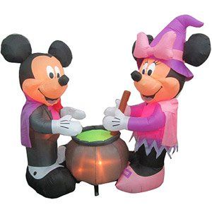 Airblown Inflatables Disney Vampire Mickey Mouse And Witch Minnie Mouse  Scene Item Sold Out Walmart
