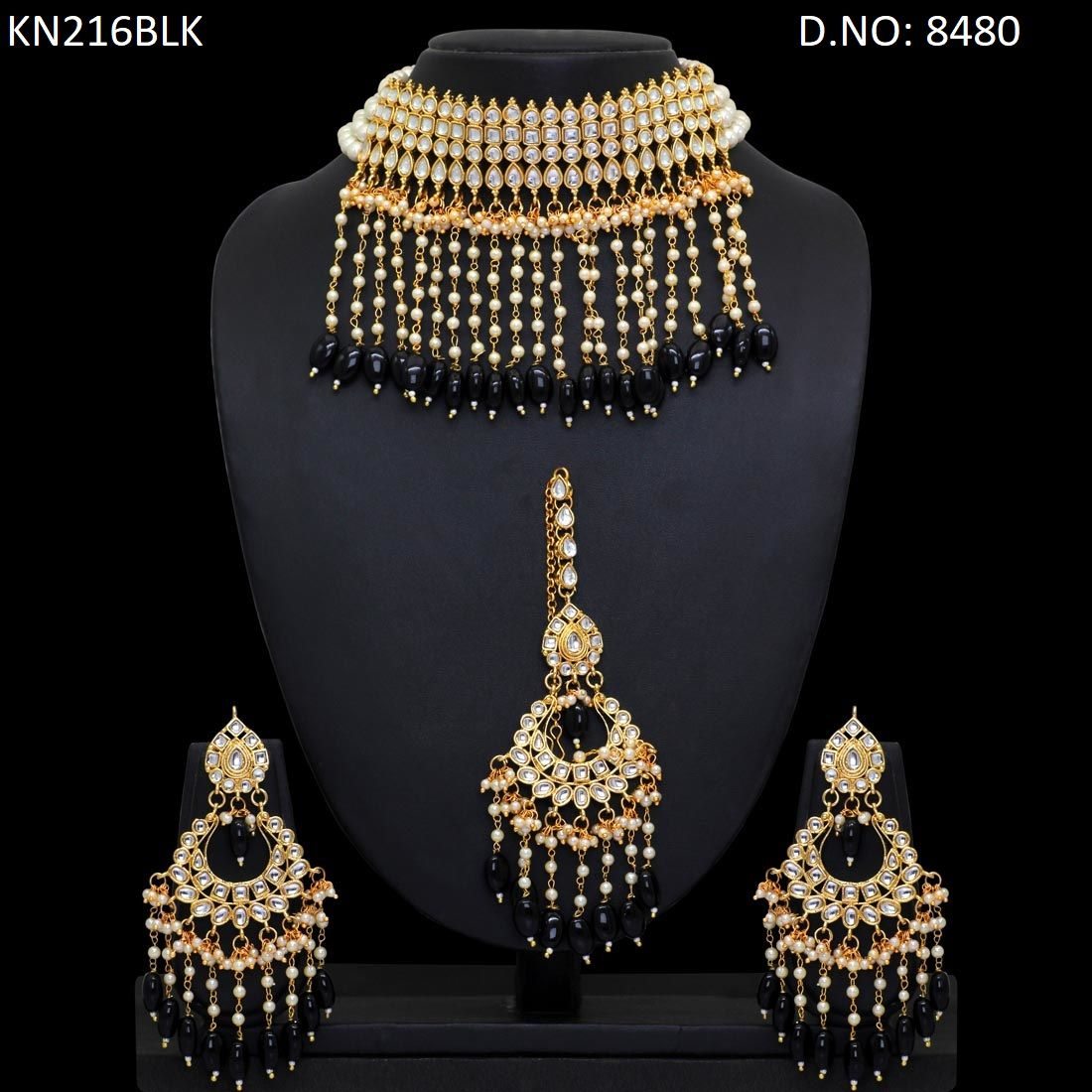 e16555b922 Get this stunning necklace set online at wholesale price. This beautiful  necklace designs for girls are availaible at wholesale price. Order this  kundan ...