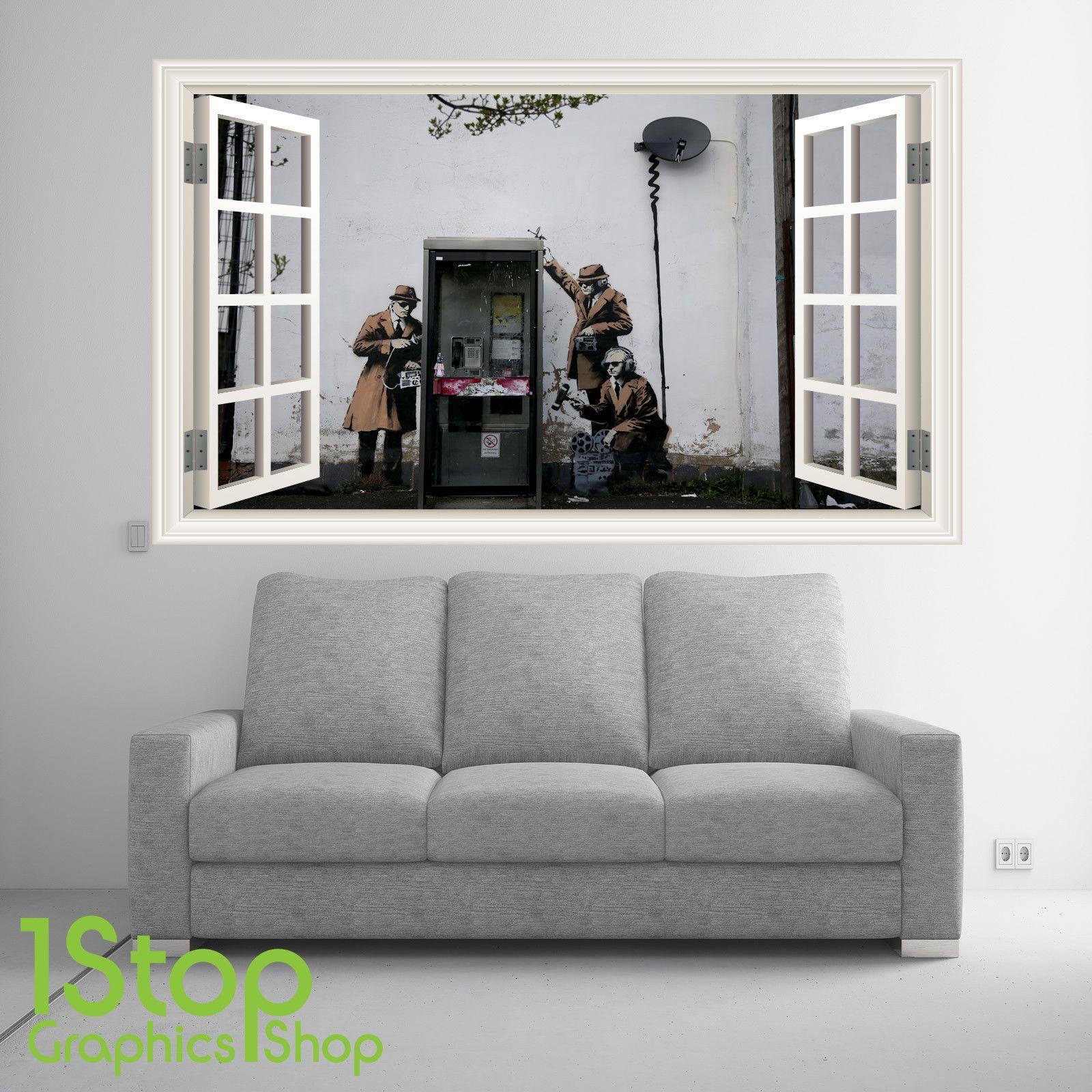Banksy wall sticker window full colour lounge home bedroom wall art