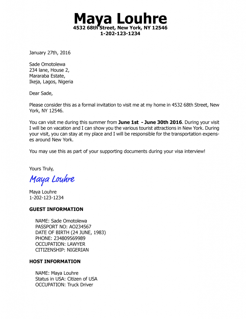 Invitation Letter For Us Visa Business Professionalism