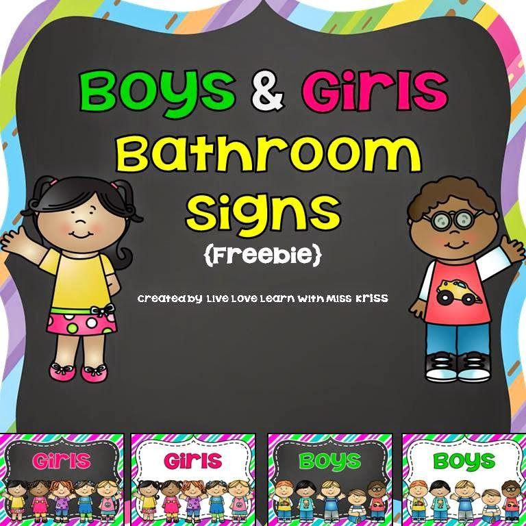 Free boys and girls bathroom signs classroom decor pinterest classroom classroom signs for Boy and girl bathroom door signs