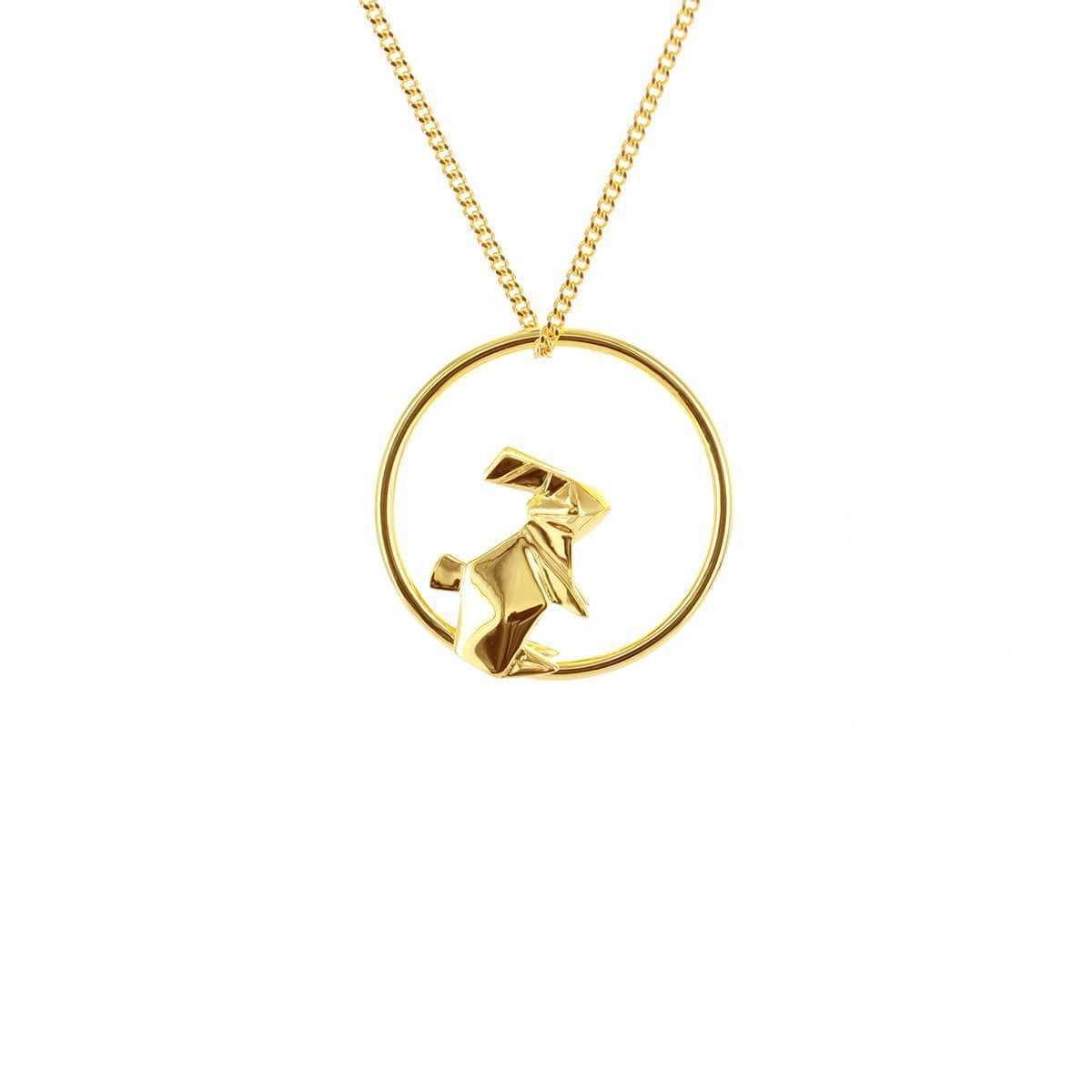 Photo of Sterling Silver & Gold Plate Rabbit Circle Origami Necklace