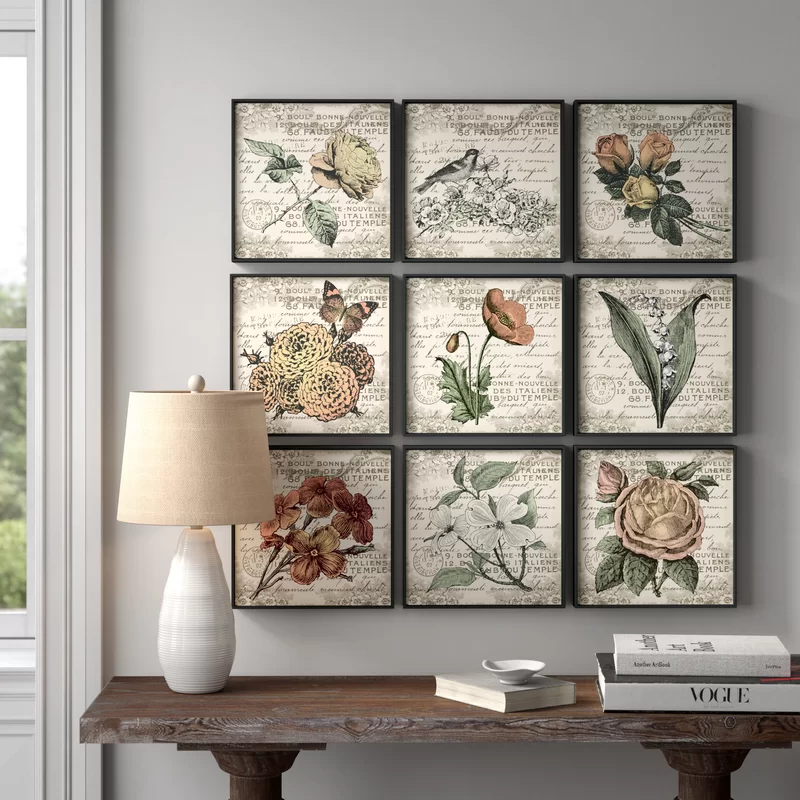 Kelly Clarkson Home French Botanical Illustrations 9 Piece Wrapped Canvas Graphic In 2020 French Country Wall Decor Medallion Wall Decor French Country Decorating