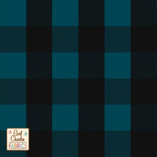 Black Teal Blue Buffalo Plaid Cotton Spandex Knit Fabric A Girl