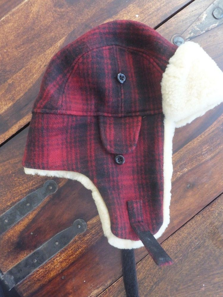 85e1254f6ee WOOLRICH HERITAGE RED BLACK PLAID WOOL TRAPPER HAT SHEEPSKIN LINED BOMBER  Lrg  fashion  clothing