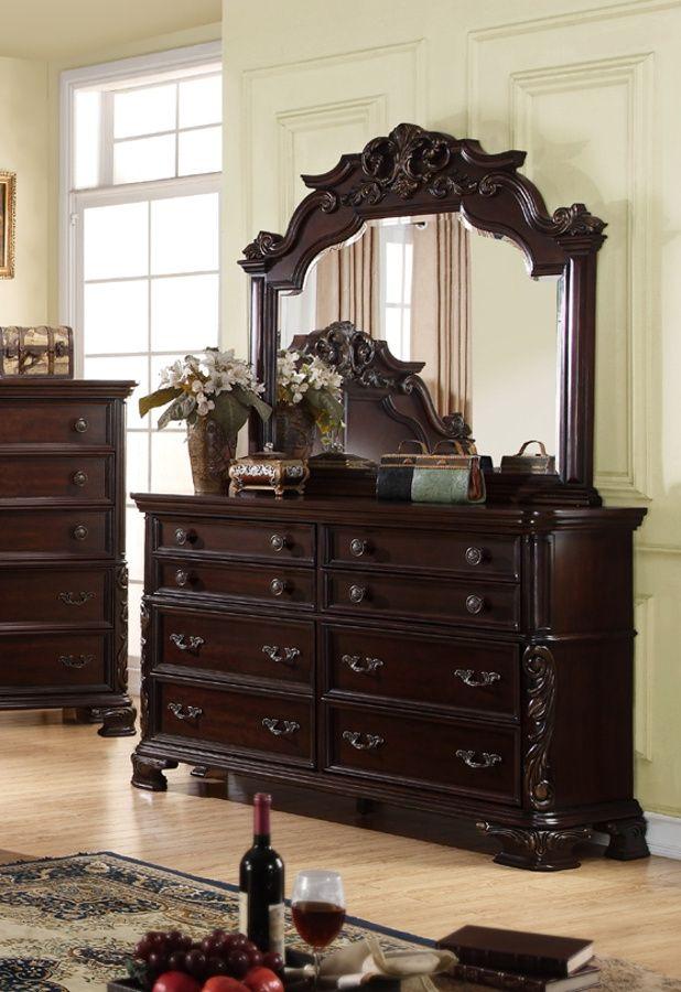 nadia dark cherry wood dresser and