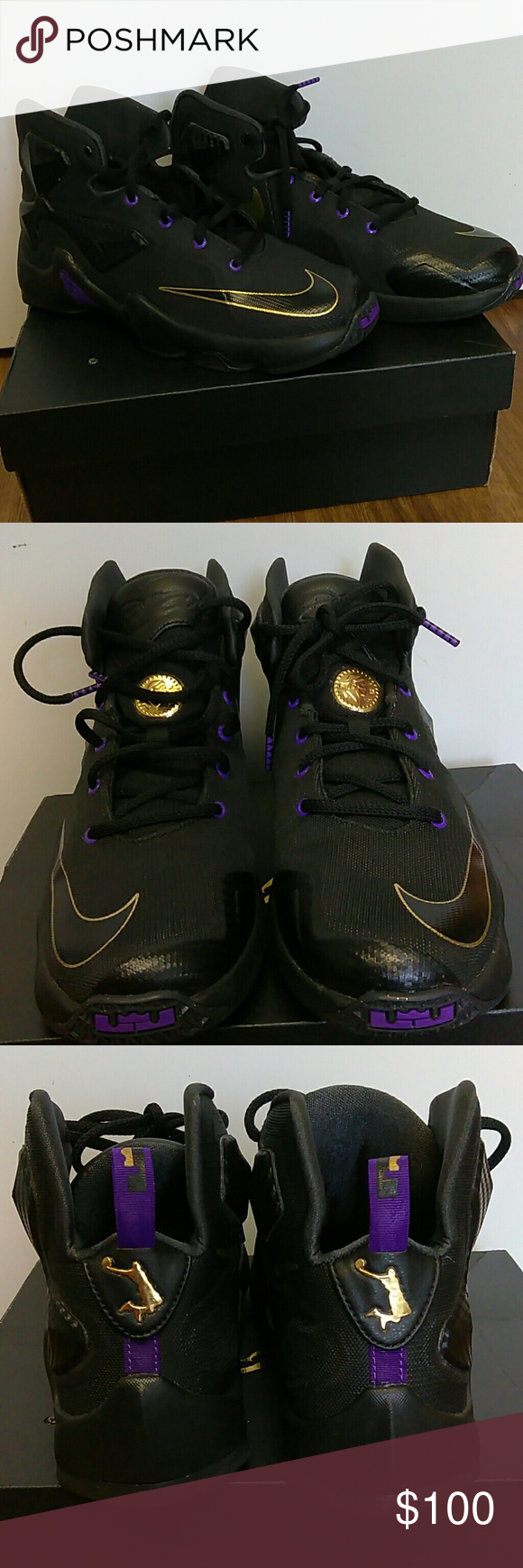 separation shoes 3cf25 5f568 Lebron James Nike Jordans LeBron James Black,purple and gold Nike Jordans  youth size 7,in good condition Nike Shoes Sneakers