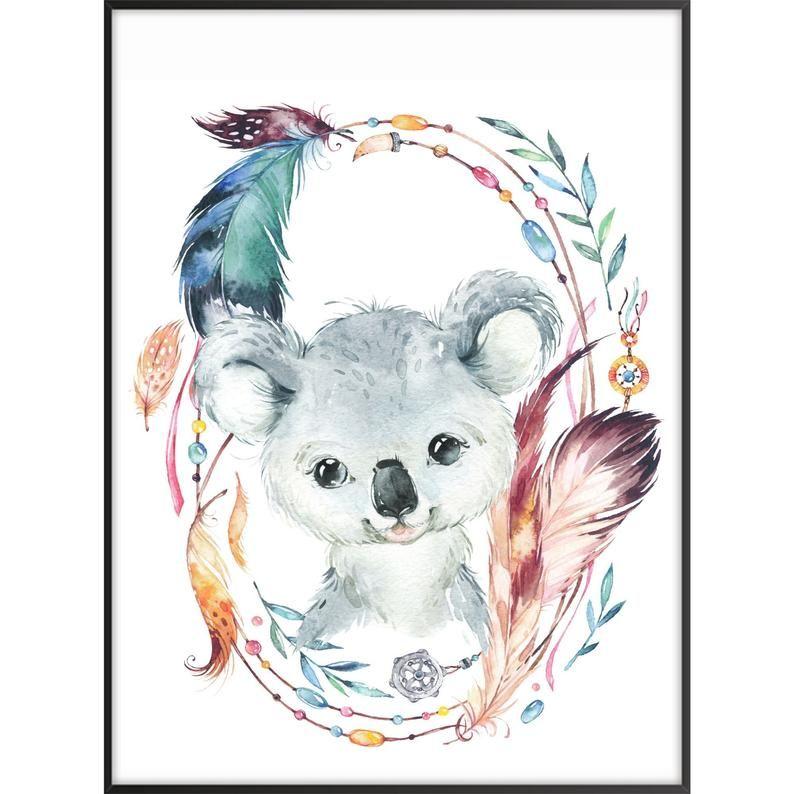 Australian themed girl nursery boho australian baby animal