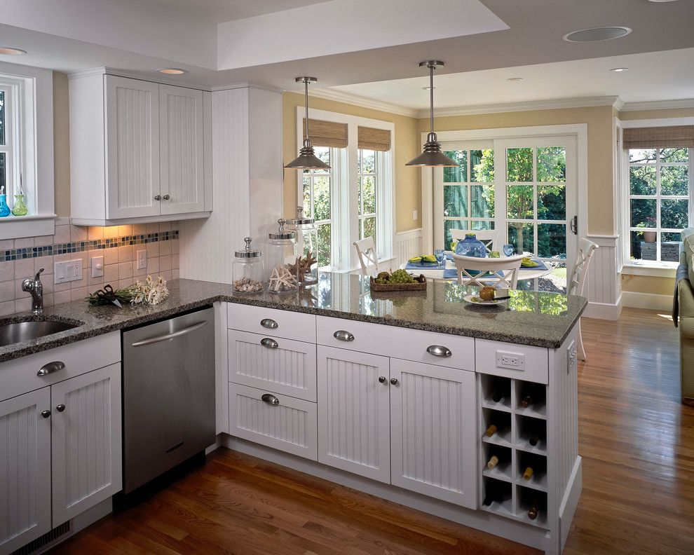 Ravishing Small Kitchen Peninsula Ideas Image Gallery In Traditional Design With Beadboard Cup