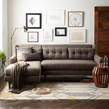 Crosby Midcentury 2Piece Chaise Sectional  Living Rooms Room Simple Living Room With Sectional Design Inspiration