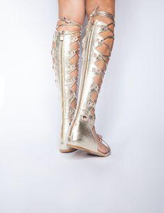Gold lace up gladiator sandals - Pixie Market