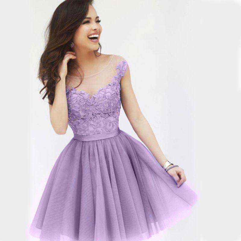 Organza A Line Bridesmaid Dresses Jewel Applique Sleeveless Short ...