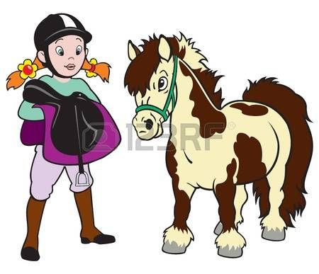 Horse Rider Little Girl With Pony Equestrian Sport Cartoon Image Horse Rider Children Illustration Horse Drawings