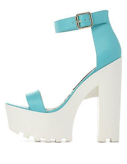 460bffbda10a Single Strap Chunky Lug Platform Heels  Charlotte Russe  heels ...