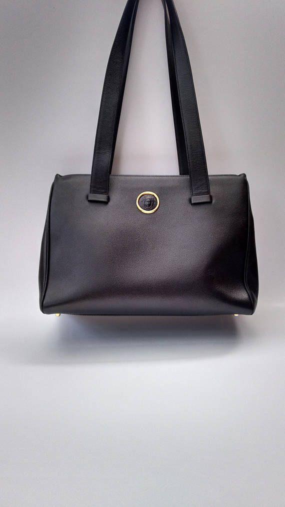 16096c26 VERSACE Gianni Versace Vintage Black Leather Shoulder Bag. | GIANNI ...