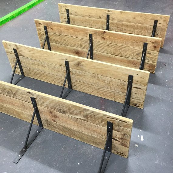 Reclaimed Pallet Wood Shelf With Welded Steel Brackets