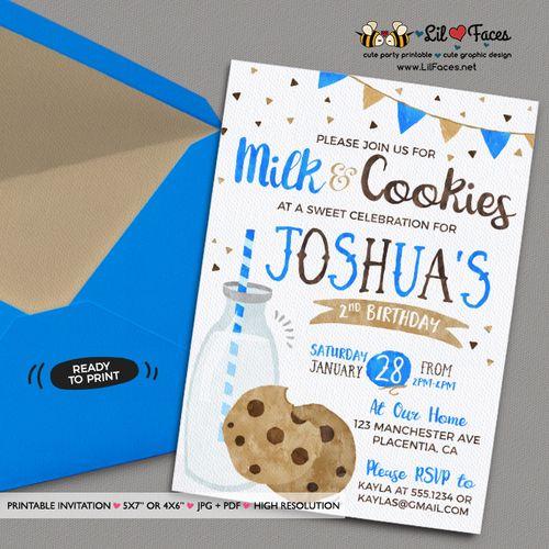 Milk And Cookies Invitation DIY Birthday Party Printable Invite Boy