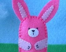 Hot Pink Bunny Finger Puppet - Easter Bunny Finger Puppet - Felt Animal Puppet - Felt Rabbit Finger Puppet - Bunny Rabbit puppet