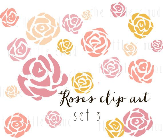 20 ROSES Flower Clip Art vector and png - floral clipart, floral ...