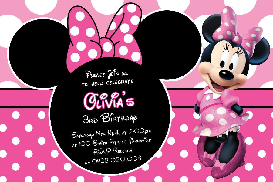 Minnie mouse personalised party invitations inviwall personalised minnie mouse birthday party invitations baby shower filmwisefo