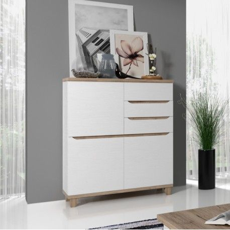 interesting meuble bahut commode style scandinave blanc et bois portes tiroirs lier with commode. Black Bedroom Furniture Sets. Home Design Ideas