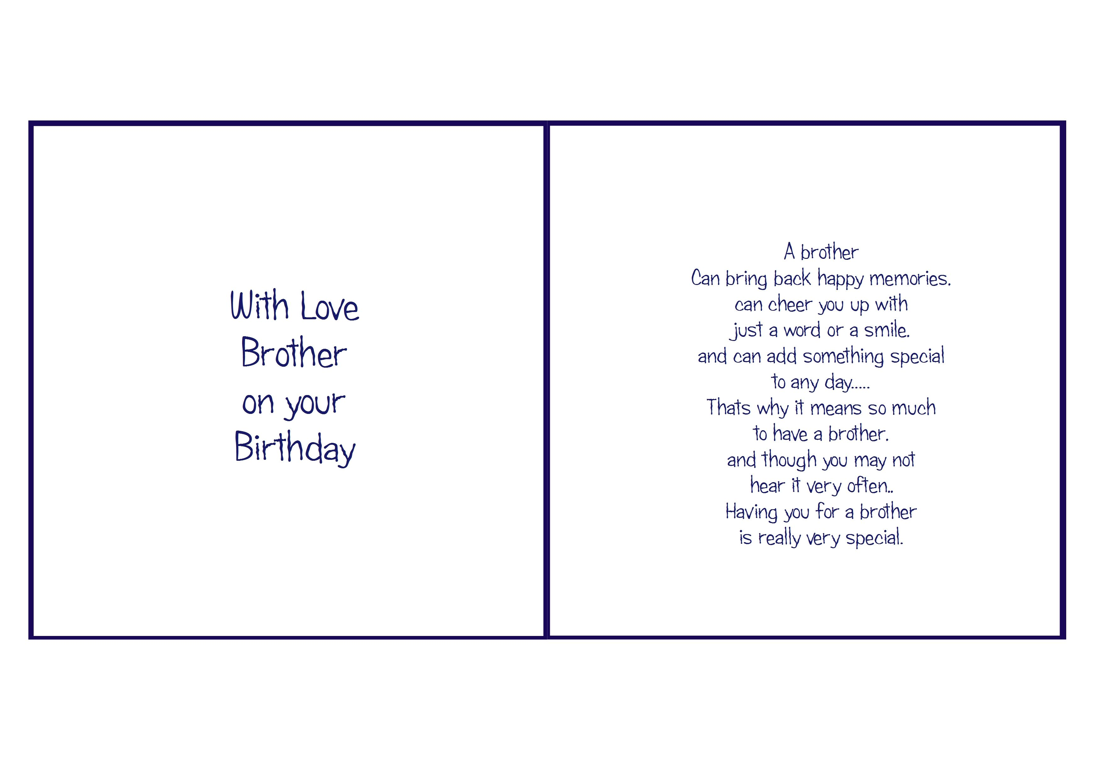 6x6 Brother Birthday Sentiments Card Christmas Verses