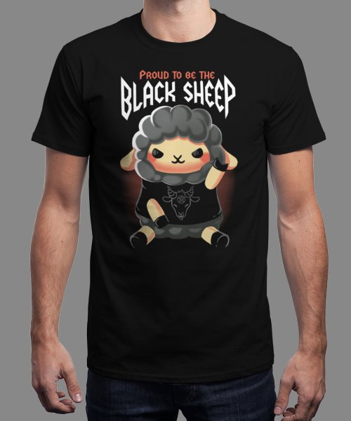 """Black sheep"" is today's £9/€11/$12 tee for 24 hours only on Pin this for… 