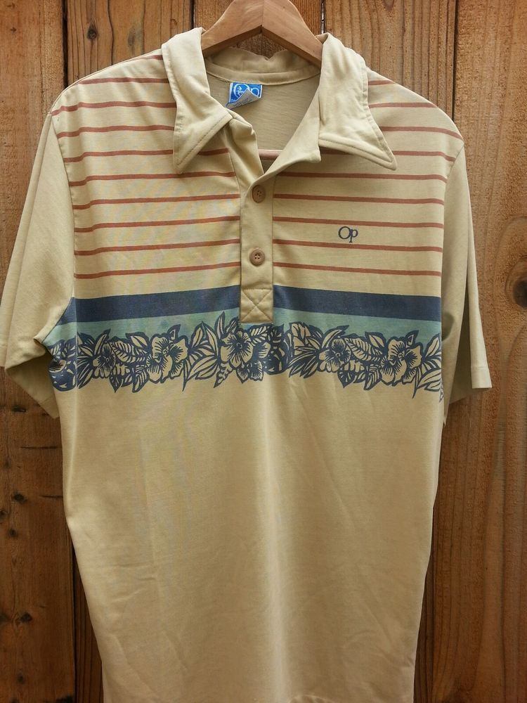Perfect Mens OCEAN PACIFIC OP Vintage Surf Polo Shirt Tan with Brown  PE21