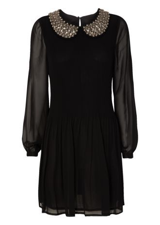 £28 This pretty beaded collar pleat dress has a Mary Quant vibe. Team with black tights and Mary Jane style shoes for a retro look.
