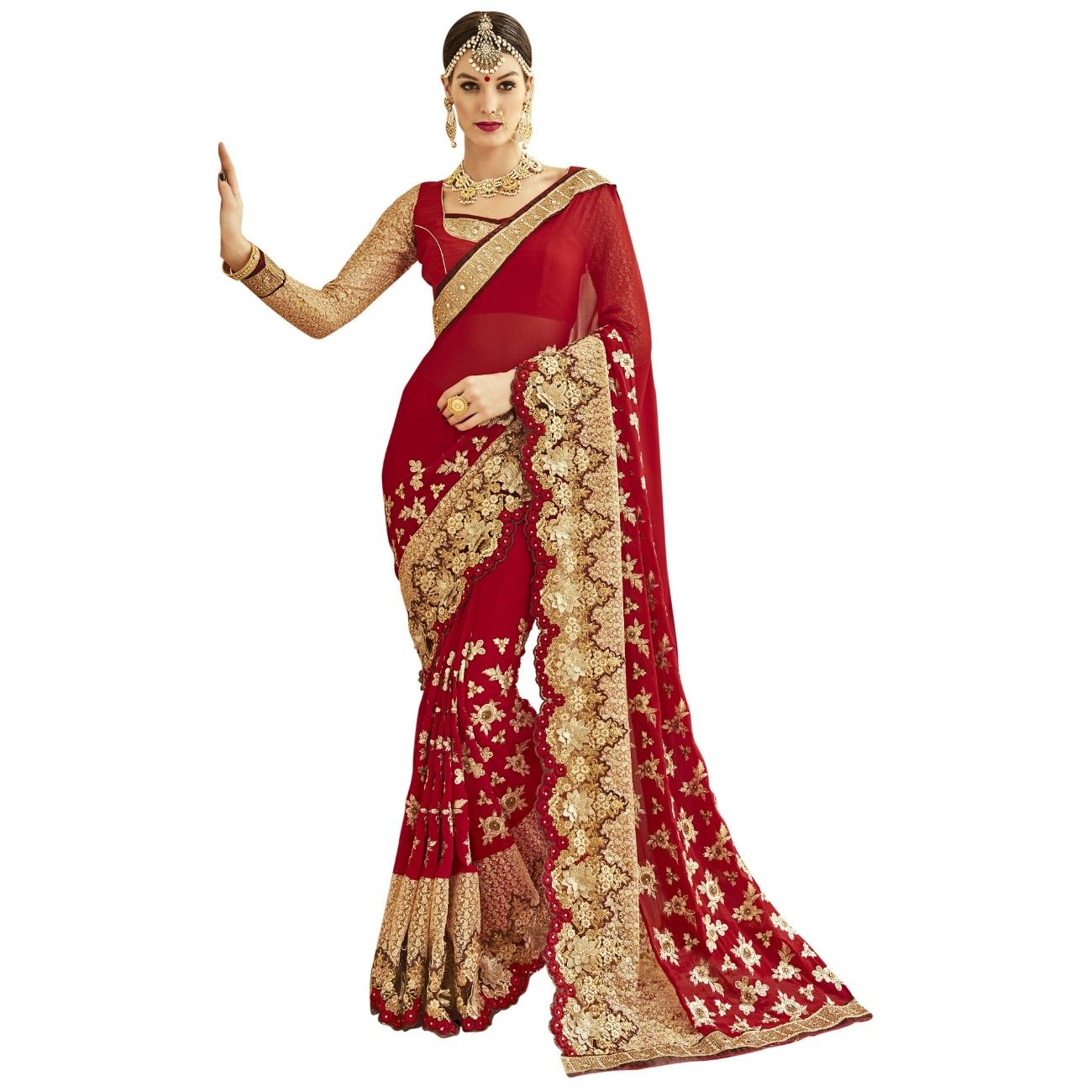 f6b1b770c7 Red Colored Embroidered Faux Georgette Party Wear Saree Triveni ...