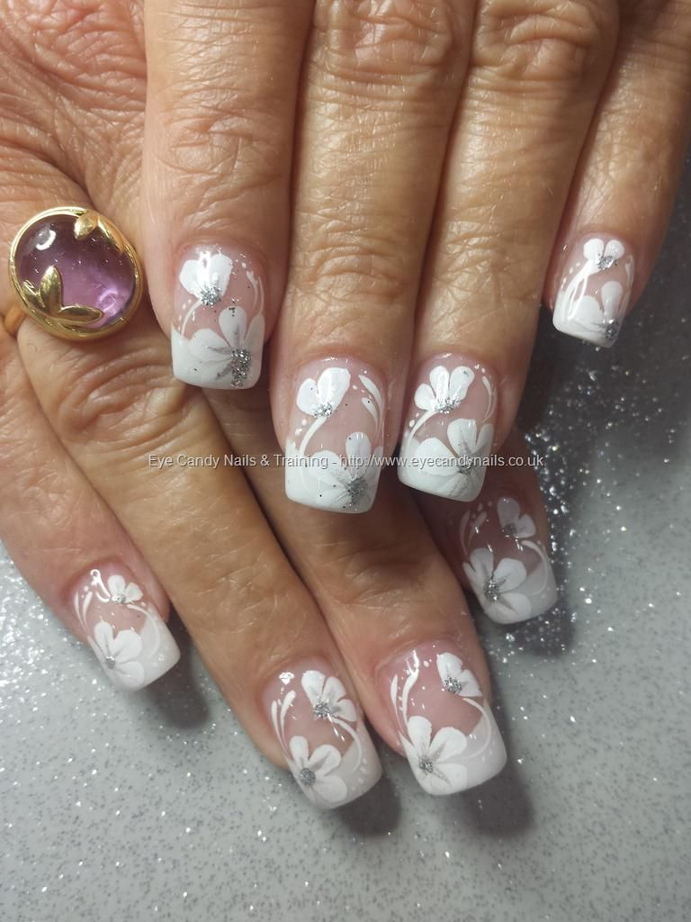 White french acrylic tips with one stroke flower nail art white french acrylic tips with one stroke flower nail art prinsesfo Image collections