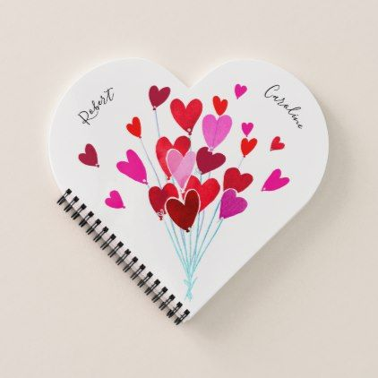 Red and Pink Valentine Hearts Add Names Notebook - Saint ...