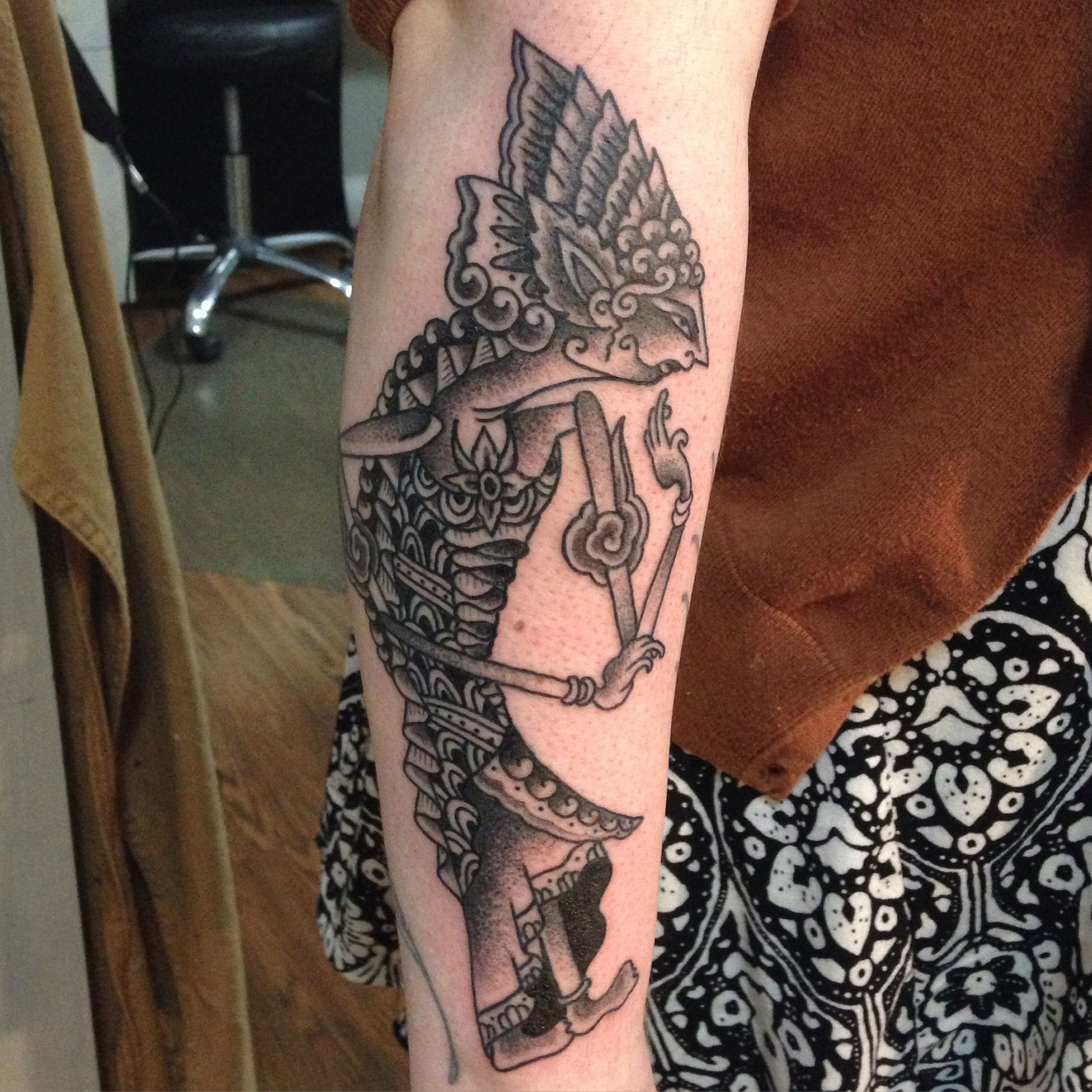 Black And Grey Dot Work Indonesian Shadow Puppet Tattoo By Sara Purr Sarapurr Com Tatoeages