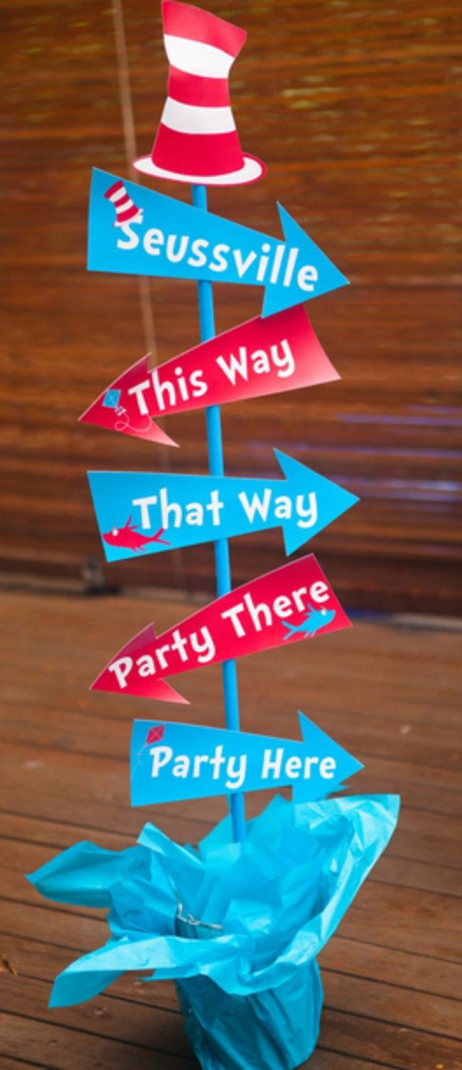 Dr Seuss Direction Signs | Library displays | Pinterest