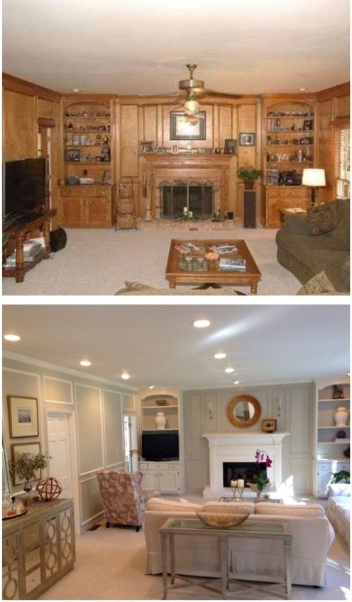 Living Room Wood Paneling Makeover: Pin By Christine Yandura On Painted Paneling