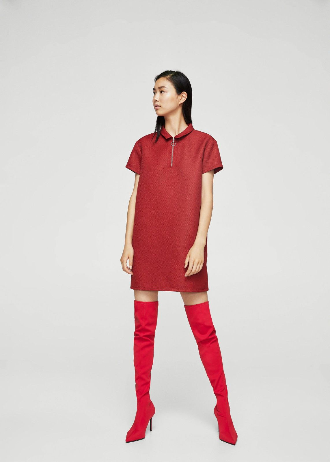 91c7367e653 Mango (Zara Group) Xl Stretch Red Over The Knee Thigh Tall Boots Stiletto  Heel