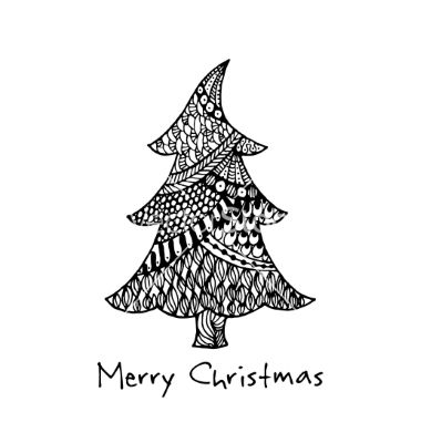 Greeting card with hand drawn christmas tree vector by Artulina on VectorStock®